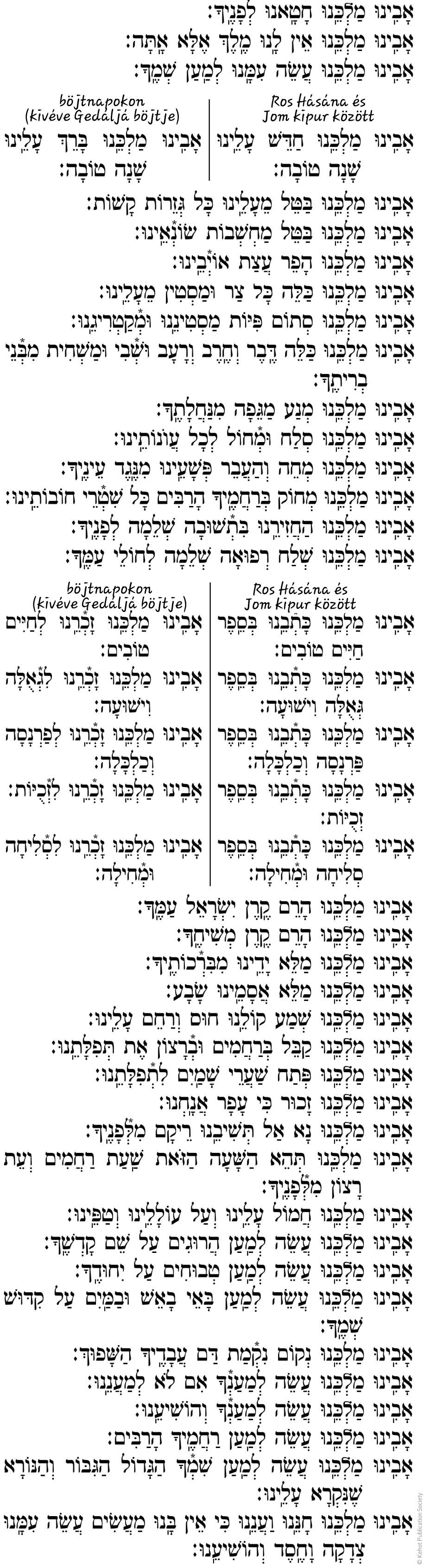 Avinu Malkeinu Héber szöveg