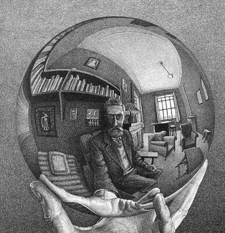 Escher: Önarckép gömb-tükörben