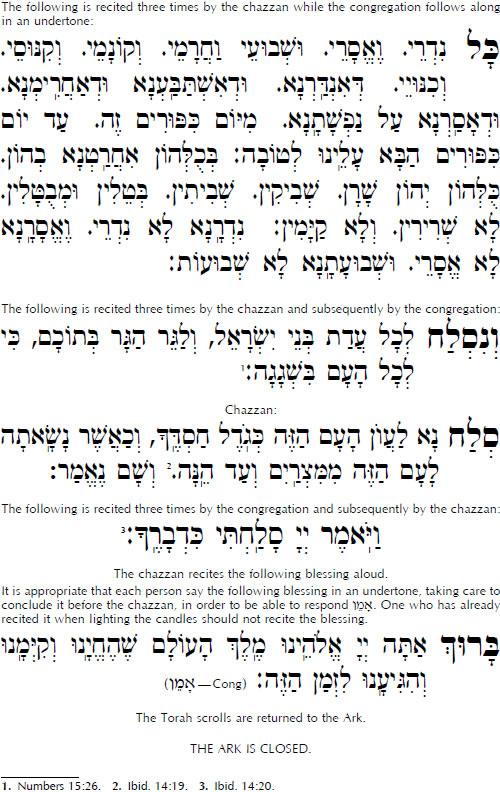 Kol nidré Héber szöveg