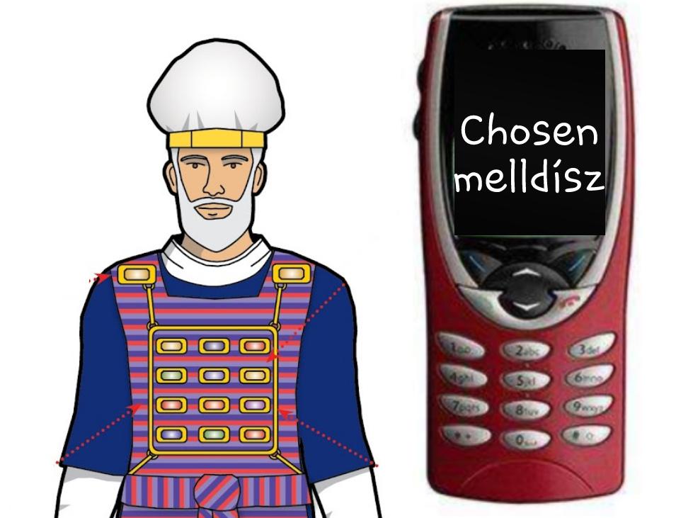 Kohen Gadol, főpap, ünnepi ruházat, melldísz, chosen és a mobil telefon